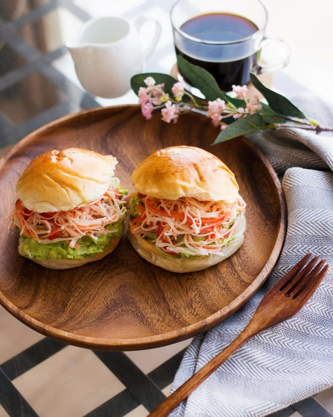 photo of crab and avocado sandwich