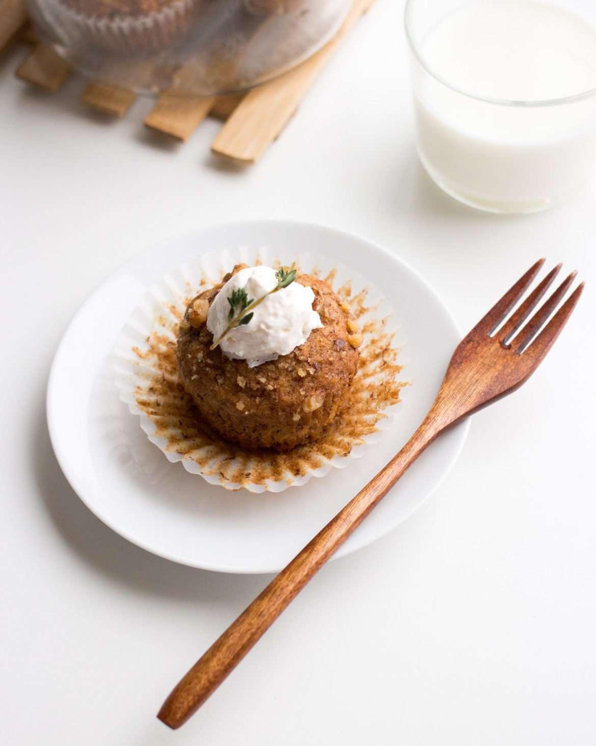 photo of banana nut muffin