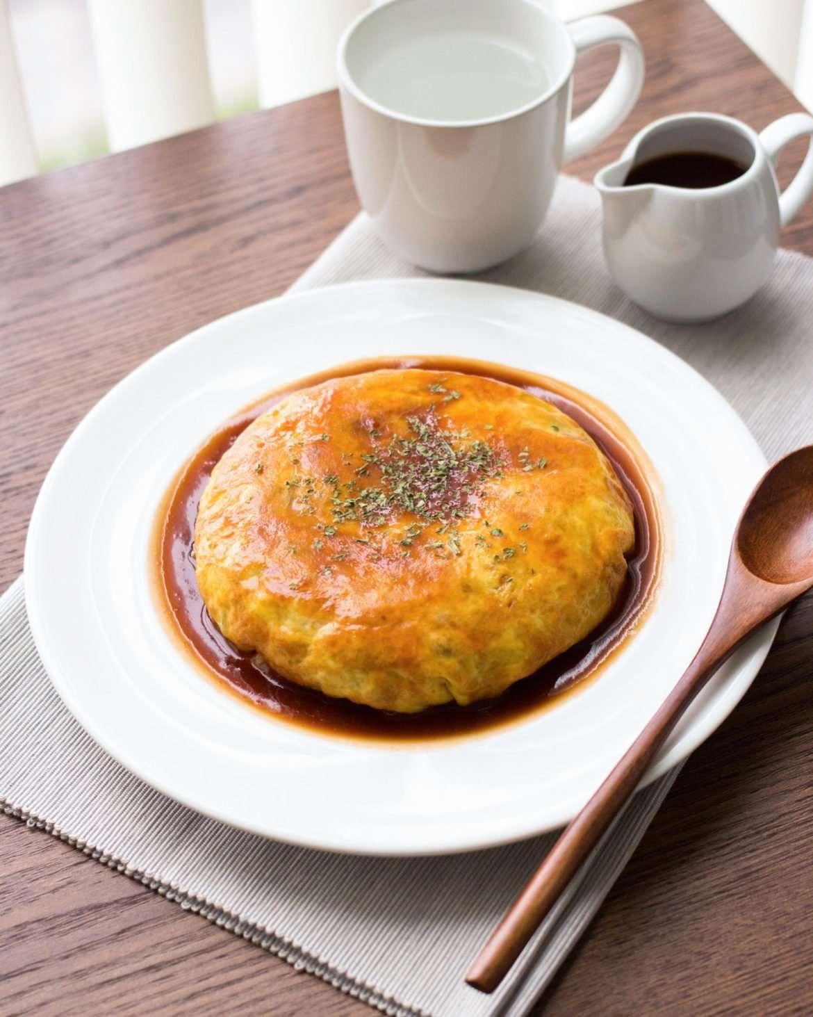 japanese omurice on a set dinner table