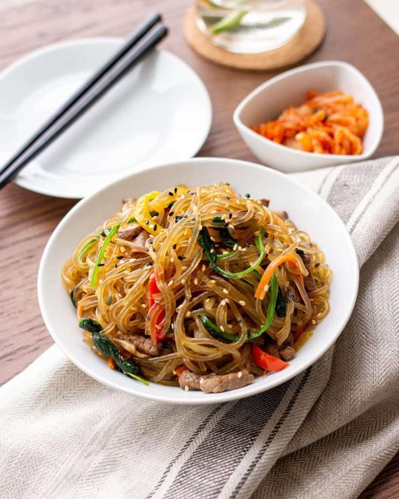 Japchae (Korean Glass Noodle Stir Fry) - Cookerru