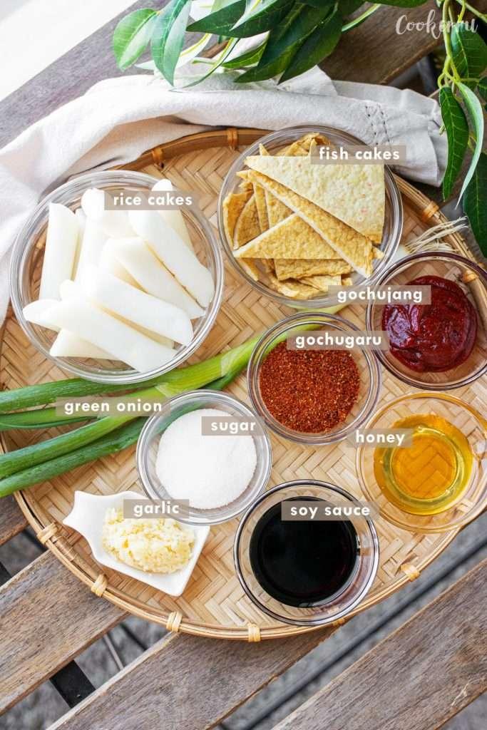 Ingredients for Tteokbokki (Korean Spicy Rice Cakes)
