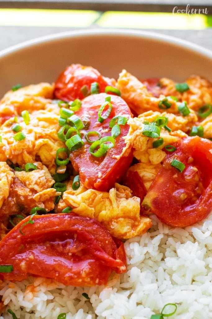 Close-up of Tomato Egg Stir Fry