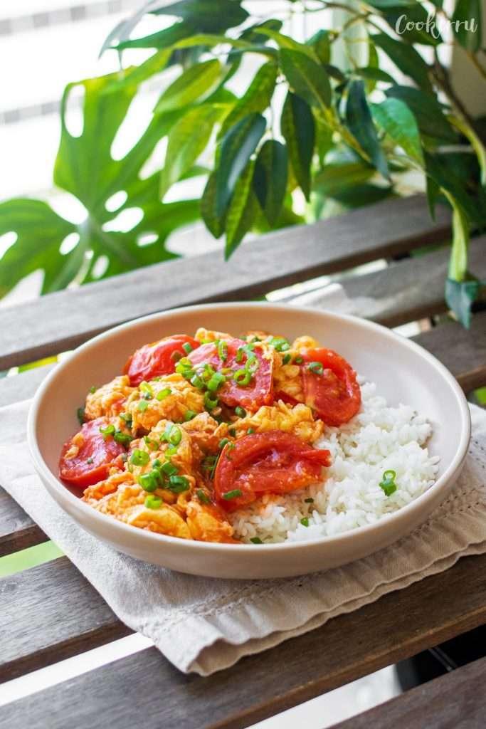 Tomato Egg Stir Fry on Rice