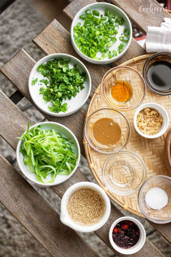 Ingredients for Sesame Noodles (Ma Jiang Mian)