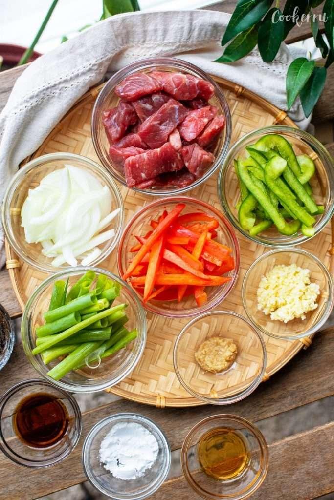 Ingredients for Black Pepper Beef Stir Fry